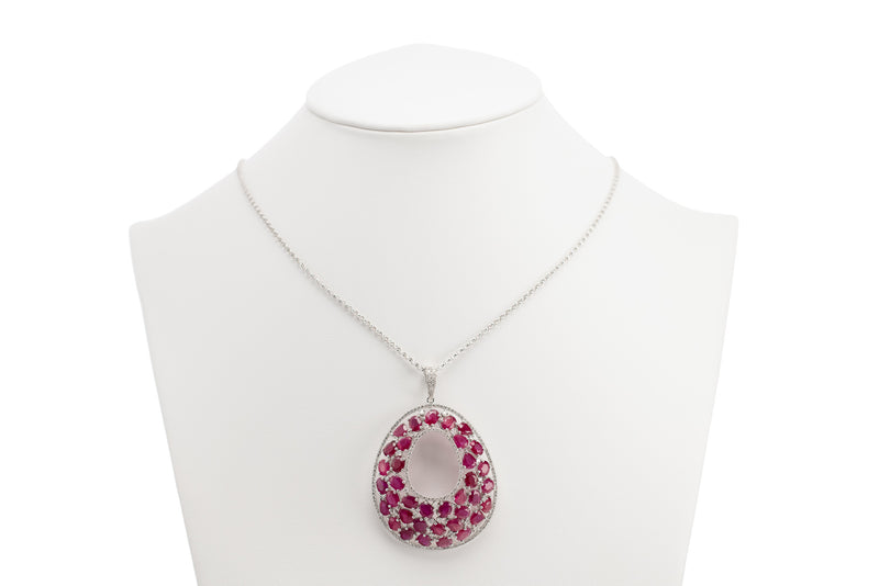 Diamond & Ruby Oval Necklace