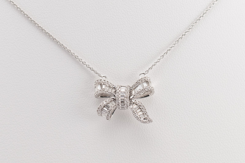 White Gold Ribbon Pendant with Chain