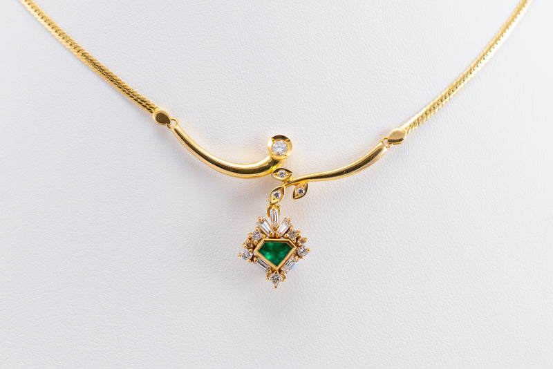 Yellow Gold Necklace with Diamonds & Emeralds