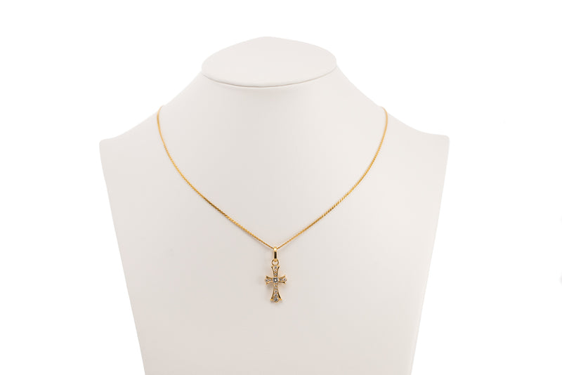 Yellow Gold Diamond Cross Necklace