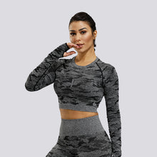 Load image into Gallery viewer, Camo Seamless Crop Top