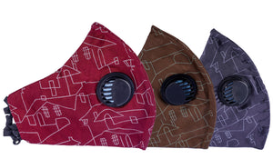 Pack of 3 Face Masks - 3PLY - Europa - Three Layer Filter- Anti Pollution - Matrix Pattern - Different Colors Available