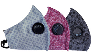 Pack of 3 Face Masks - 3PLY - Europa - Three Layer Filter - Anti Pollution - Flower Pattern - Different Colors Available