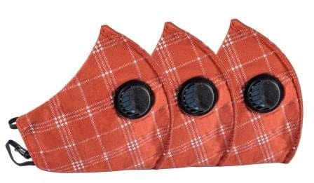 Pack of 3 Face Masks - 3PLY - Europa - Three Layer Filter- Anti Pollution - Checks Pattern - Orange