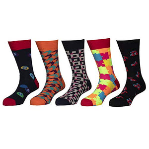 Happy socks - Assorted Pack of 5 - Combed 100% Cotton Spandex Socks - 03