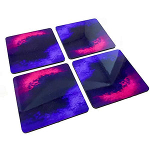 Galaxy Ink - Set of 4 - Artistic Wooden Coasters - Easy to Clean & Durable Water Resistant Coating