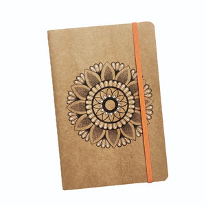 A5 Mandala Print Journal - Ruled - 140 Pages - Handmade cover