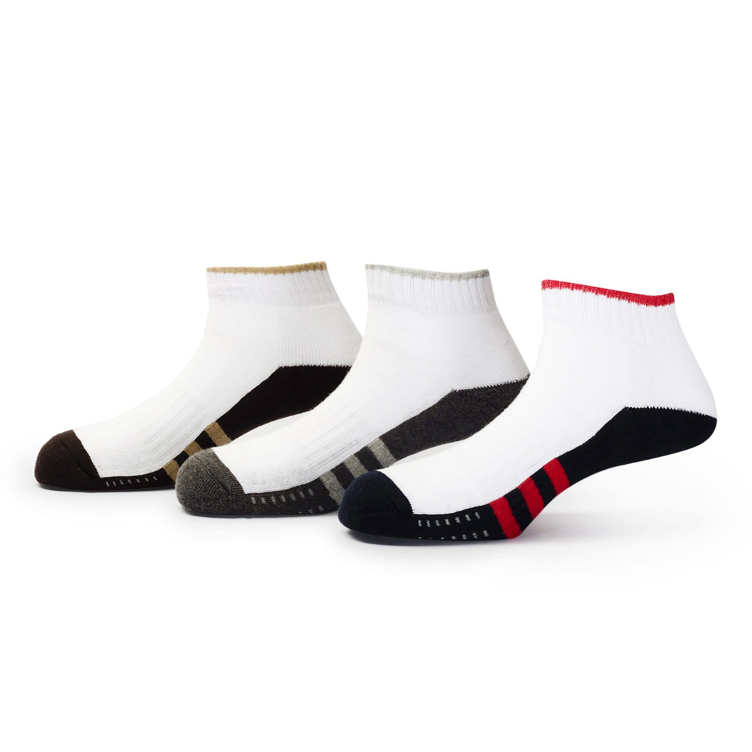Players (1) - Assorted Pack of 3 - 100% Cotton Spandex Premium Quality Sports Ankle Socks