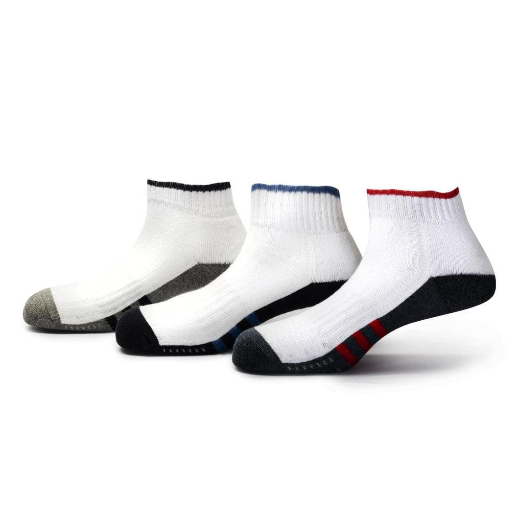 Players (2) - Assorted Pack of 3 - 100% Cotton Spandex Premium Quality Sports Ankle Socks