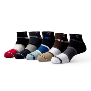 Elite (1) - Assorted Pack of 5 - 100% Cotton Spandex Premium Quality Socks