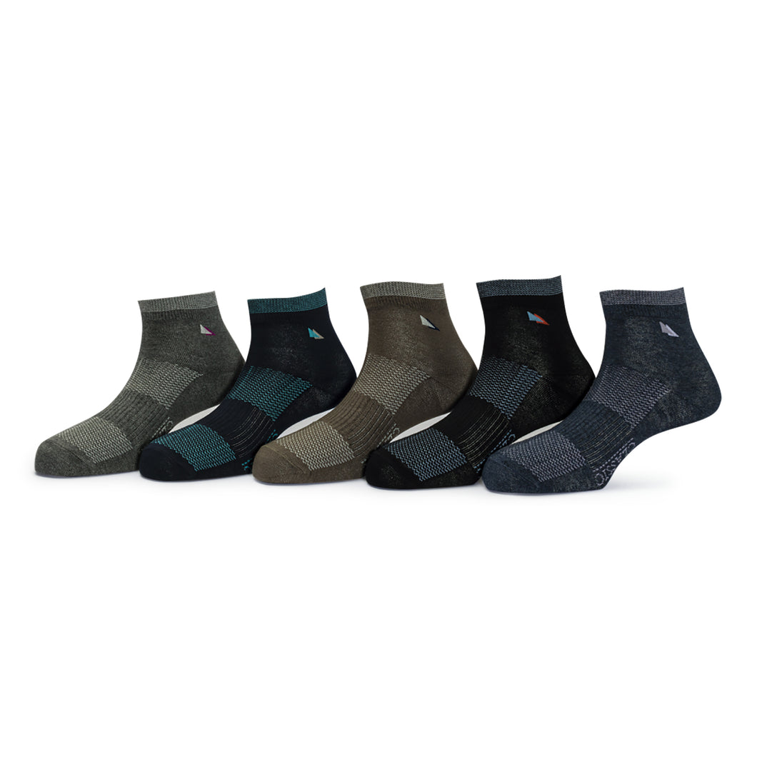 Elite (6) - Assorted Pack of 5 - 100% Cotton Spandex Premium Quality Socks Comfortable