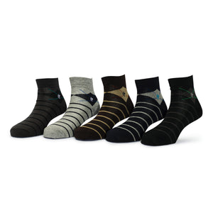 Elite (9) - Assorted Pack of 5 - 100% Cotton Spandex Premium Quality Socks - Men