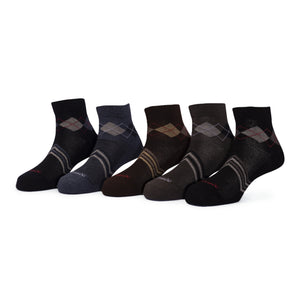 Elite (3) - Assorted Pack of 5 - 100% Cotton Spandex Premium Quality Socks - Men