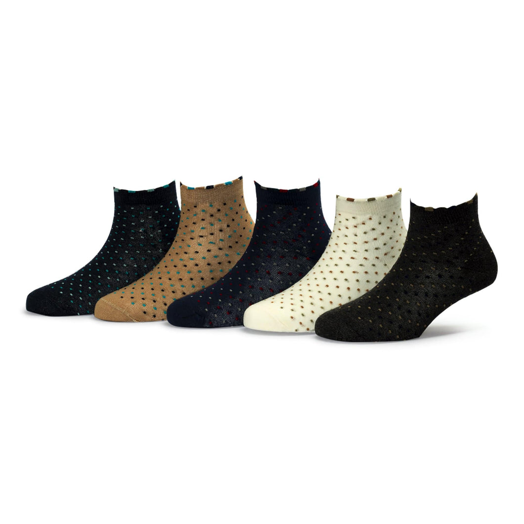 Tango (8) - Assorted Pack of 5 - 100% Cotton Spandex Premium Quality Socks For Women