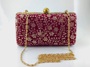 Deep Red - Ancient Embroidery - Woman's Clutch