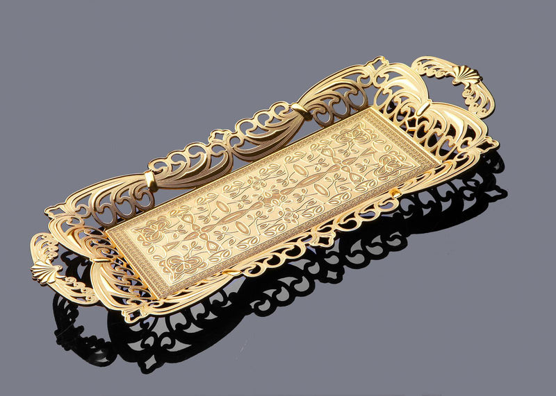 Tuleen Rectangular Golden tray