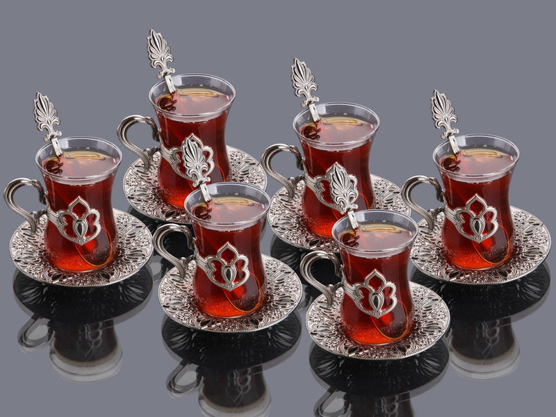 Tuleen Silver Royal Tea set of 6 Istikana glasses and tea spoons