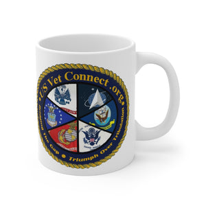 MUG 11 OZ | US Vet Connect Inc | Double Logo | Bridging the Gap | Triumph over Tribulation