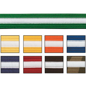 B10541 Martial Arts Belts - Green with White stripe