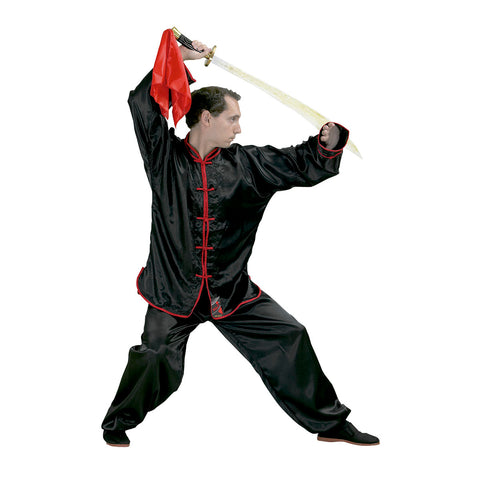 10632 Kung Fu Black Satin Kimono With Red Border