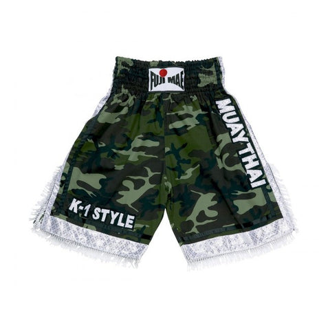 11444 Thai Boxing Shorts (Camo with White Details)