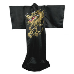 13401 Japanese Kimono with Gold Embroidered Dragon
