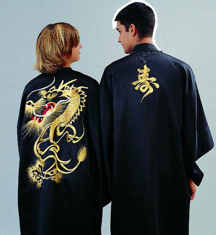 13400 Japanese Kimono with Gold Embroidered Kotobuki