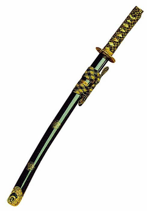 Metalic Blue/Green Laquered Wakizashi With Cord Adornement