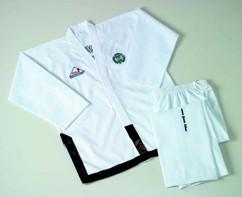 10223 ITF Black Belt Embroidered Ribbed Poly/Cotton Uniform - SPECIAL !