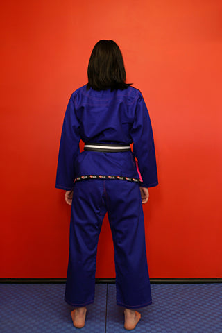 "10405500 BJJ Kids Fuji Pro ""ORIGINS"" Blue Gi with Pink Stitch"