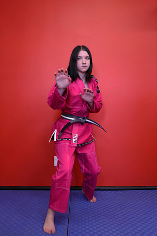 "10405910 BJJ Kids Fuji Pro ""ORIGINS"" Pink Gi with White Stitch"