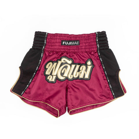 114319 PROWEAR THAI SHORTS MAROON/GOLD