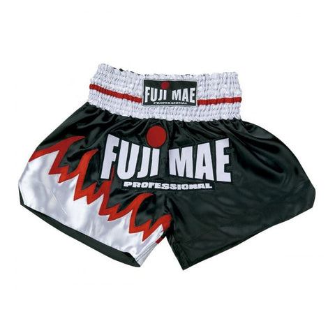 114378 MUAY THAI SHORTS - BLACK/WHITE. FUJI MAE