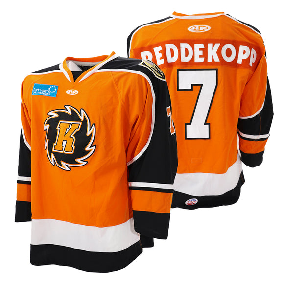 Game Worn 2019-2020 Orange Komets Jersey - #7 CHAZ REDDEKOPP