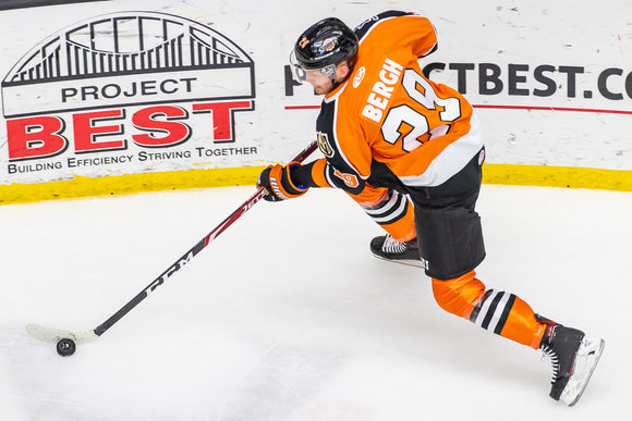 Game Worn 2019-2020 Orange Komets Jersey - #29 MASON BERGH