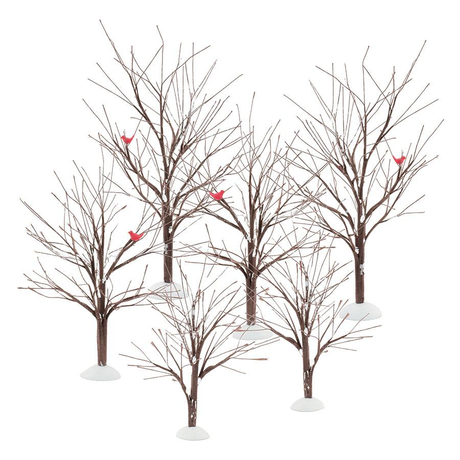 DEPARTMENT 56 VILLAGE ACCESSORIES BARE BRANCH TREES SET OF 6