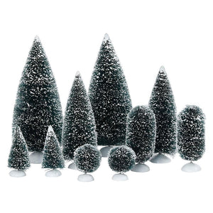DEPARTMENT 56 VILLAGE ACCESSORIES BAG-O-FROSTED TOPIARIES. 10 PIECES-+