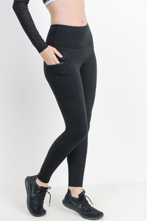 High-waist Essential Leggings with Zippered Side Pockets