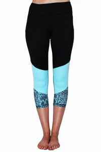 Blue Lace - Pocket Capri Leggings