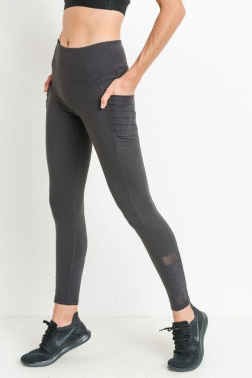 High-Waist Moto Ribbed Leggings with Mesh and Pockets