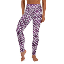 Load image into Gallery viewer, High Waist Purple Mermaid Leggings