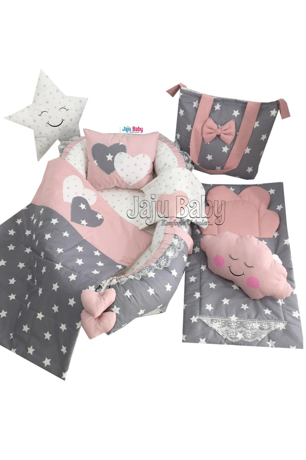 Gray Cloud Luxury Babynest Bedding Set (8 pieces)