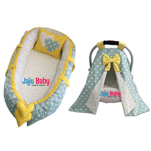 Jaju Green Star Baby Nest and Stroller Cover (4 pcs.)