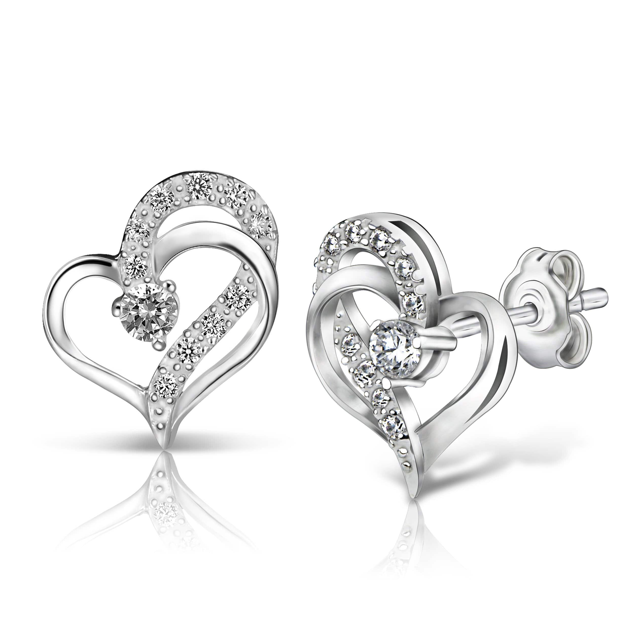Eternity Double Heart Stud Earrings Sterling Silver