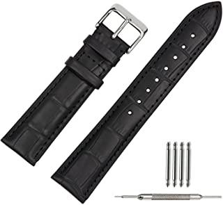 FASHION CLASSIC DESIGN LEATHER WATCH STRAP - BLACK
