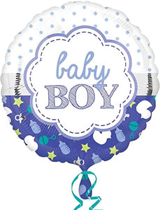 Baby Boy Scallop Foil Balloon 18""