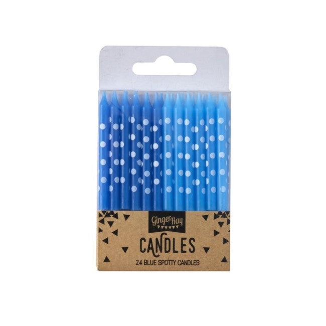 Pick and Mix - Candles - Light and Dark Blue Spot - 24 Pack