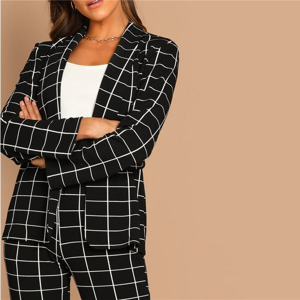 Black Stretchy Grid Print Blazer Pants