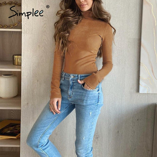Office lady camel autumn winter knitted top