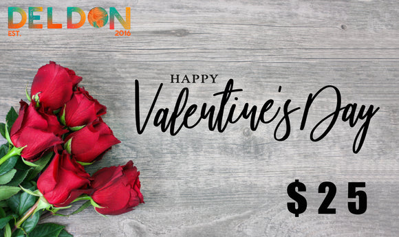 Deldon Designs Valentine's Day Gift Card and hand written note from Elena